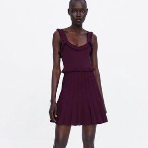 Zara Knit Pleated Plum Sweater Dress NWT